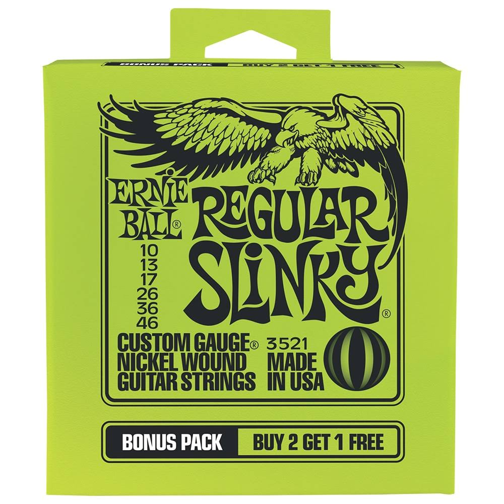 Ernie Ball P03521 Regular Slinky Nickel Wound Electric Guitar Strings Bonus Pack