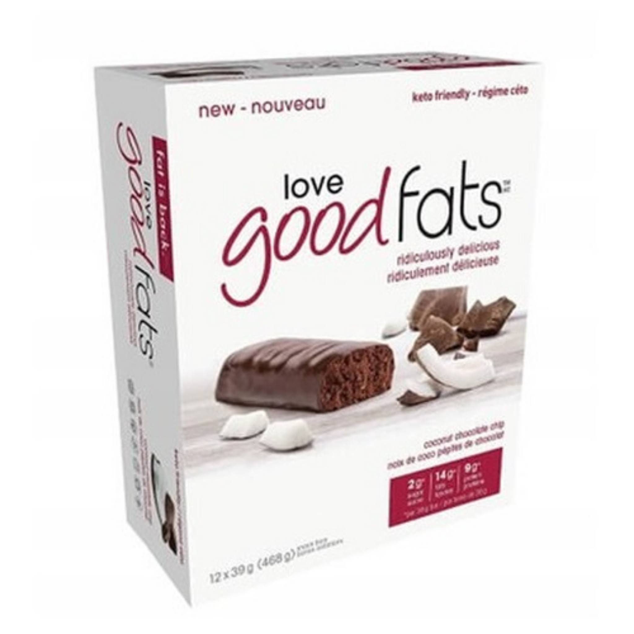 Love Good Fats Coconut Choc Chip Snack Bar 12x39g