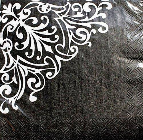Party! Luncheon Napkins ~ Damask White on Black Set of 20