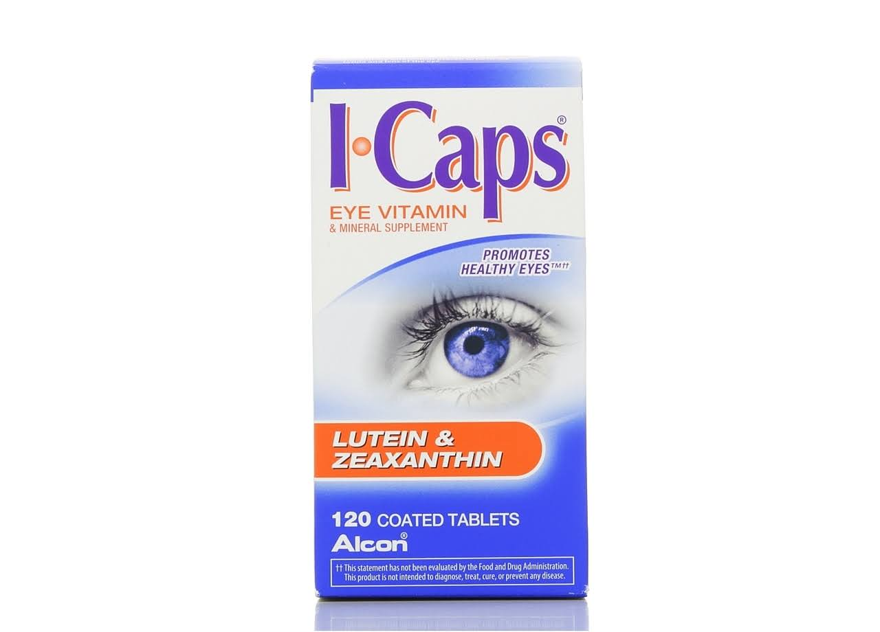 Icaps Lutein and Zeaxanthin Formula Coated Tablets Eye Vitamins - 120ct