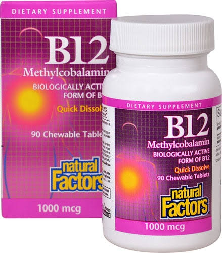 Natural Factors B12 Methylcobalamin - 90 Chewable Tablets, 1000mcg
