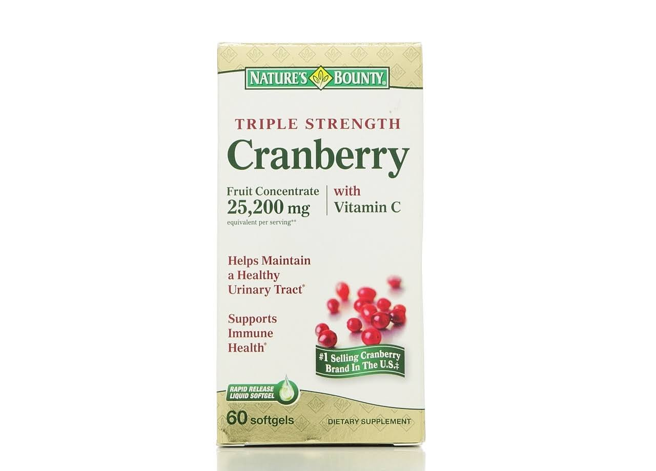 Nature's Bounty Cranberry Rapid Release Softgels Dietary Supplement - 25200mg, 60 Pack