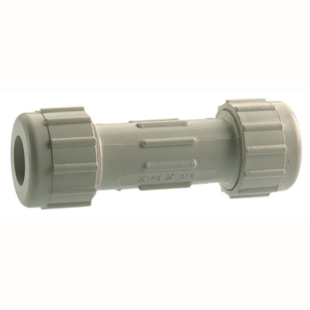 B and K Plastic Compression PVC Coupling - 3/4""
