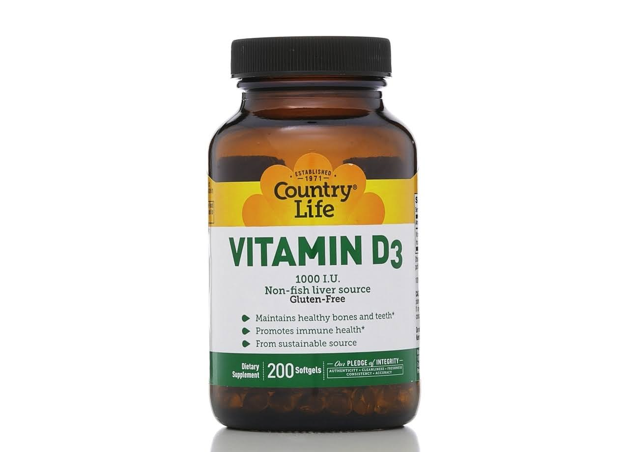 Country Life Vitamin D3, 1000 IU - 200 softgels