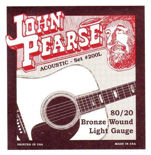 John Pearse P200l Bronze Acoustic Guitar Strings - Light Gauge, Bronze Wood