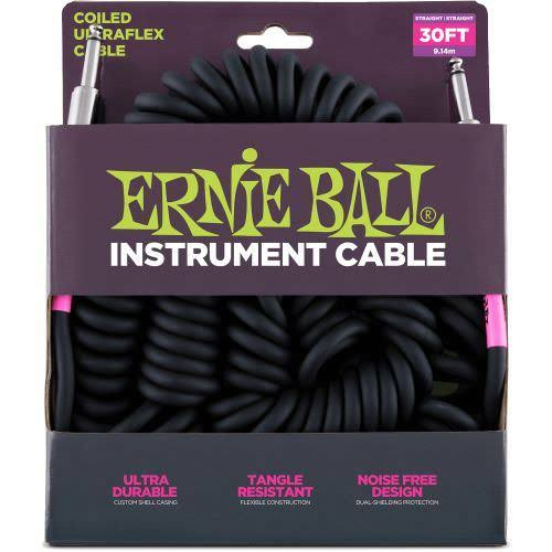 Ernie Ball Instrument Coil Cable - Black,  30ft
