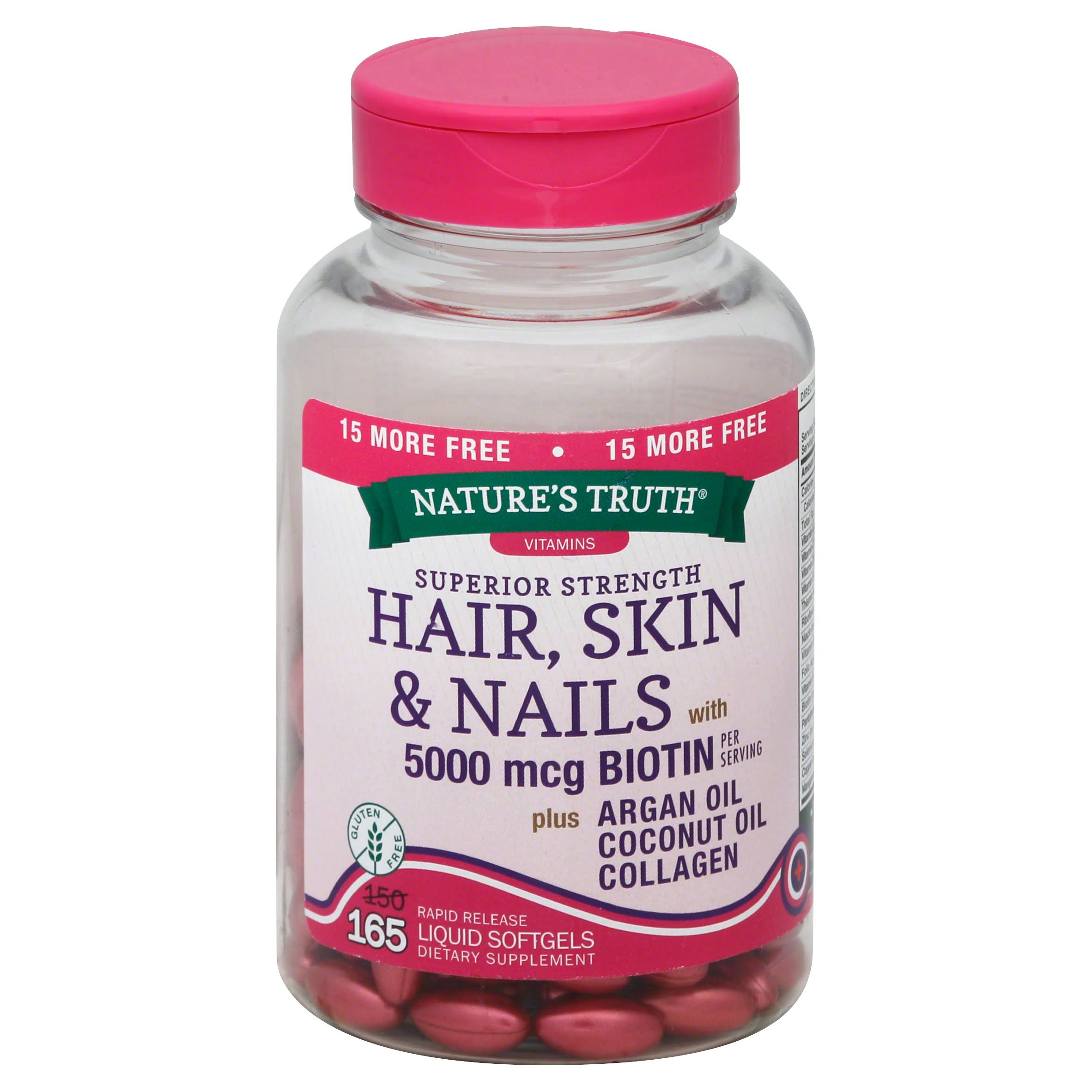 Nature's Truth Hair Skin & Nails Supplement - 500mcg, 165 Liquid Softgels