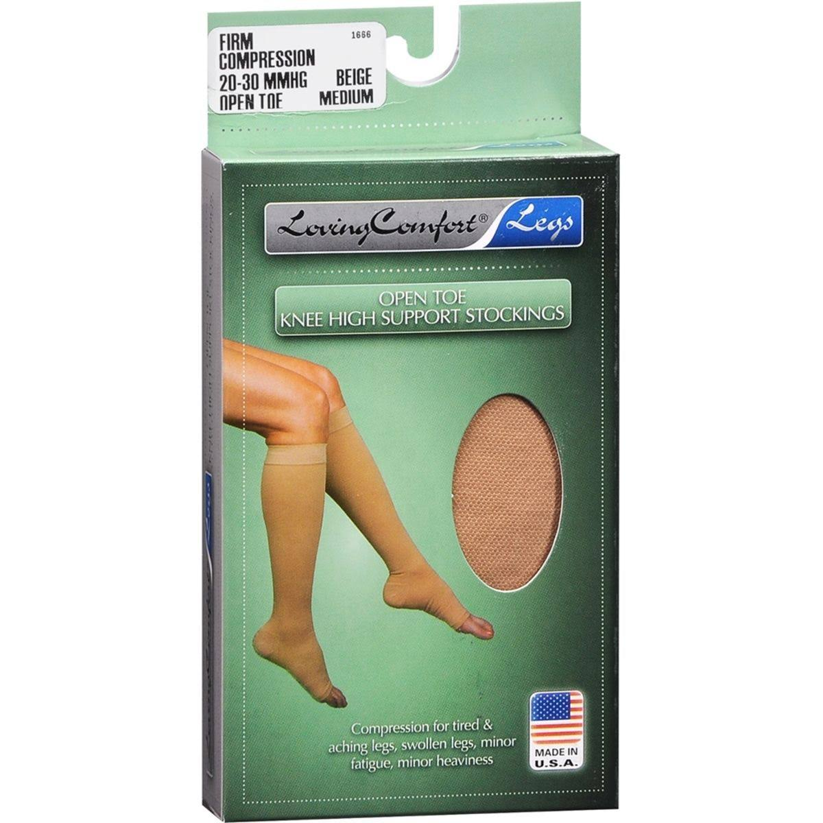 Loving Comfort Knee High Compression Hose - Beige, Medium