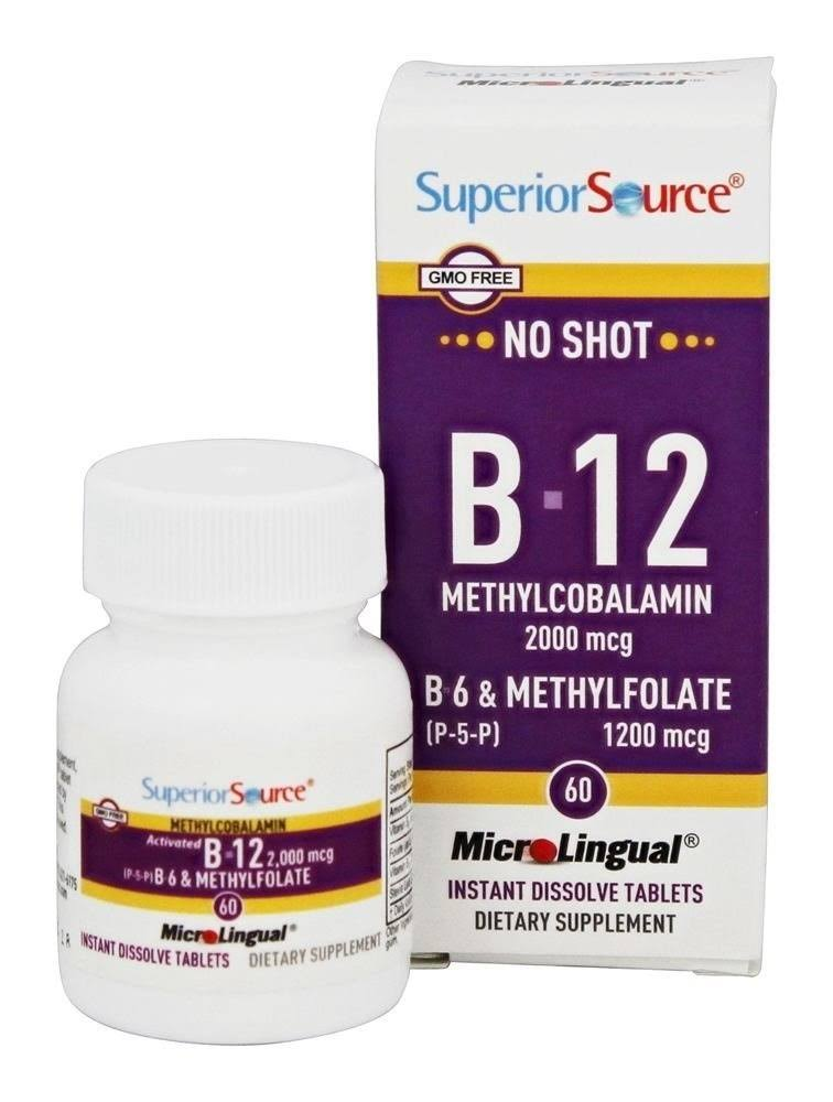 Superior Source No Shot Methylfolate B12 Supplement - 2000mcg, 60ct