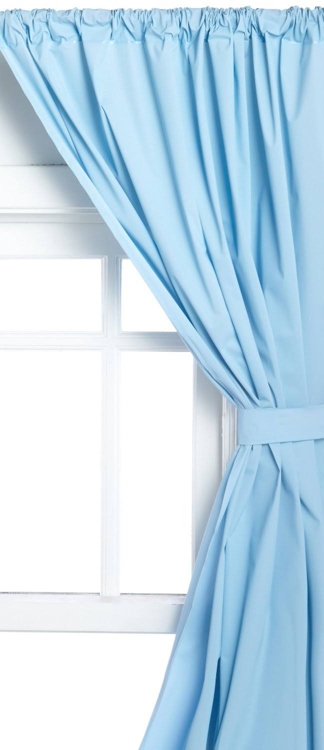 Carnation Home Vinyl Window Curtain in Light Blue