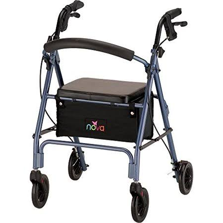 "Nova Vibe 6 Rolling Walker - Blue, 6"" Wheels"
