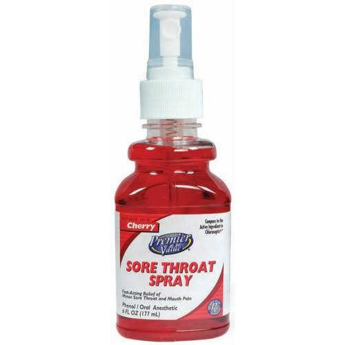 Premier Value Sore Throat Spray - Cherry, 6oz