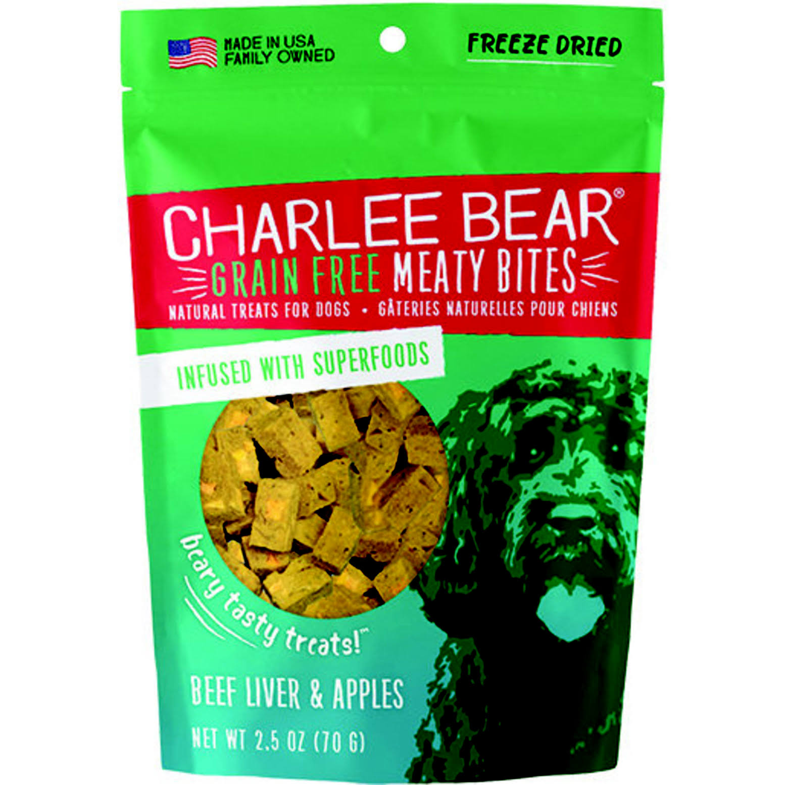 Charlee Bear Grain-Free Meaty Bites Dog Treats 2.5oz Beef & Apple