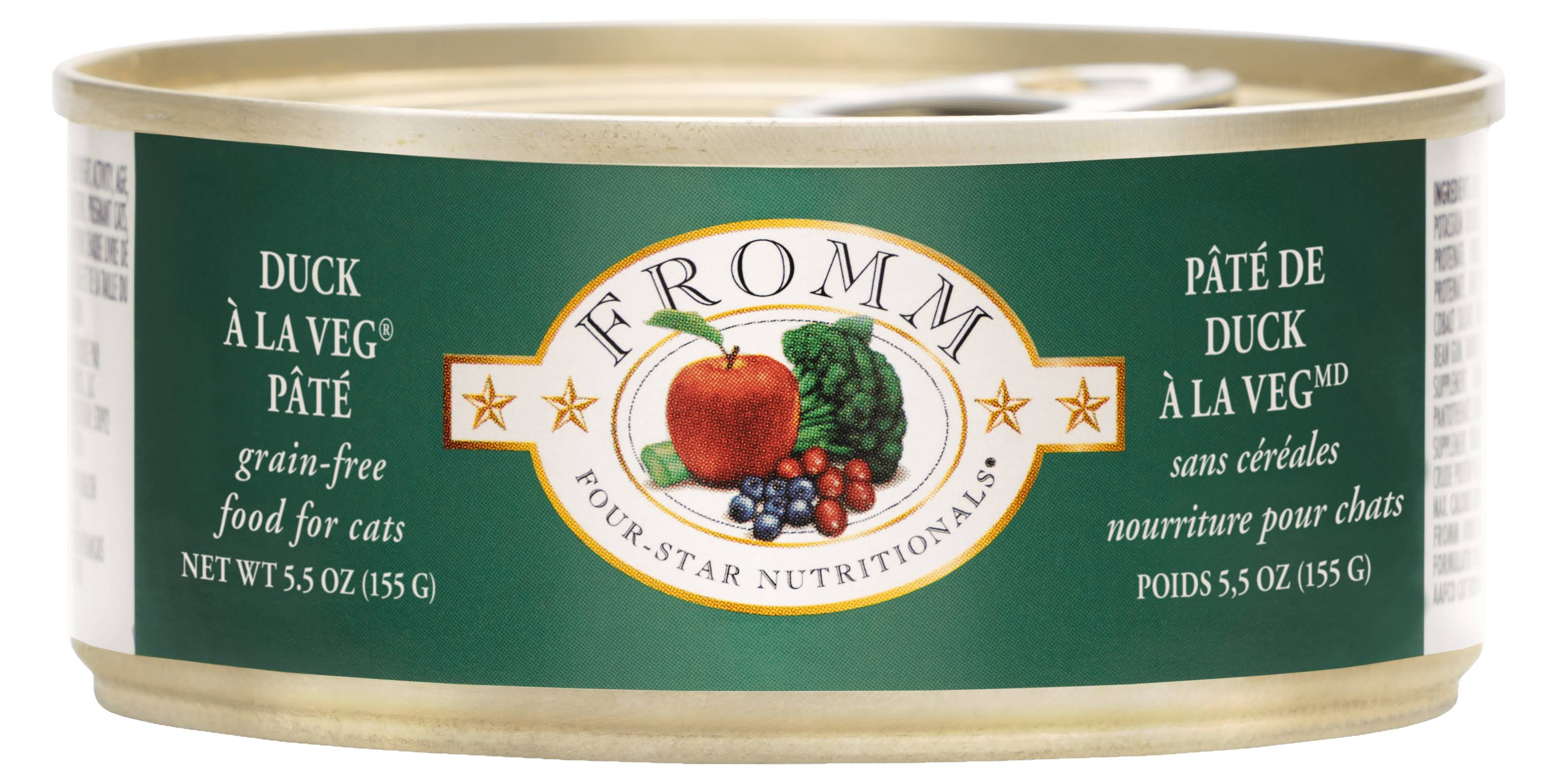 Fromm Four Star Grain Free Duck A La Veg Pate Canned Cat Food 5.5oz Single Can