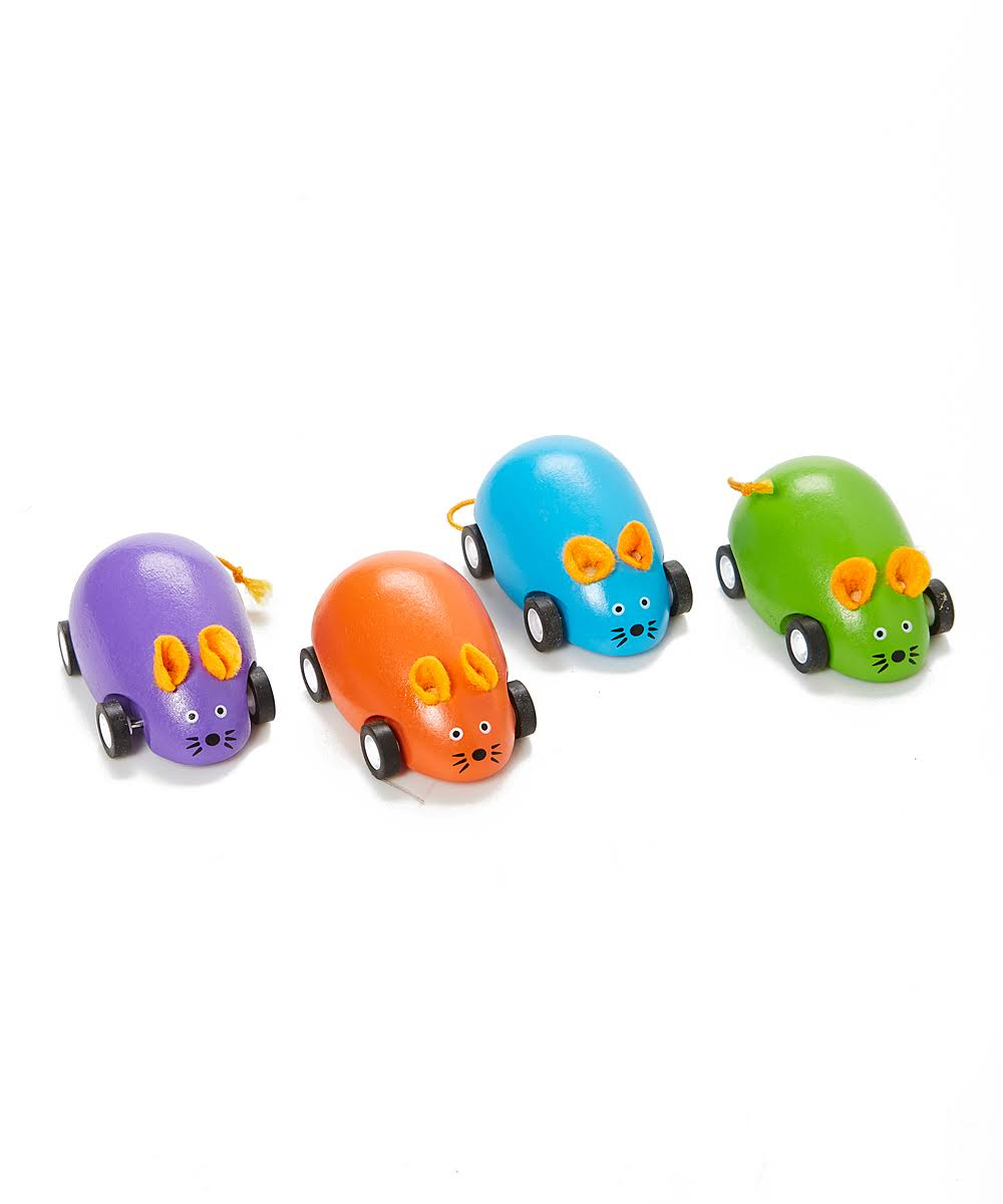 Jack Rabbit Creations Push and Pull Toys - Orange, Green, Blue & Purple Pull-Back Mice - Set of Four