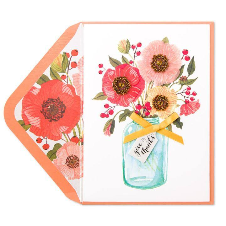 Papyrus Thanksgiving Card Fall Floral in Mason Jar