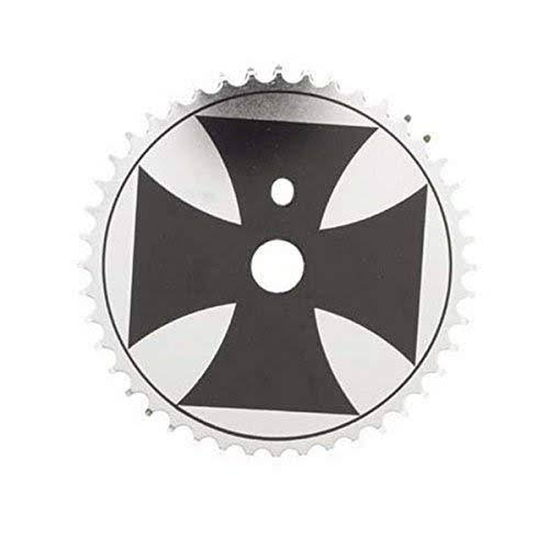 "Sunlite Iron Cross Chainring - 44T x 1/2"" x 3/32"", Black and Chrome"