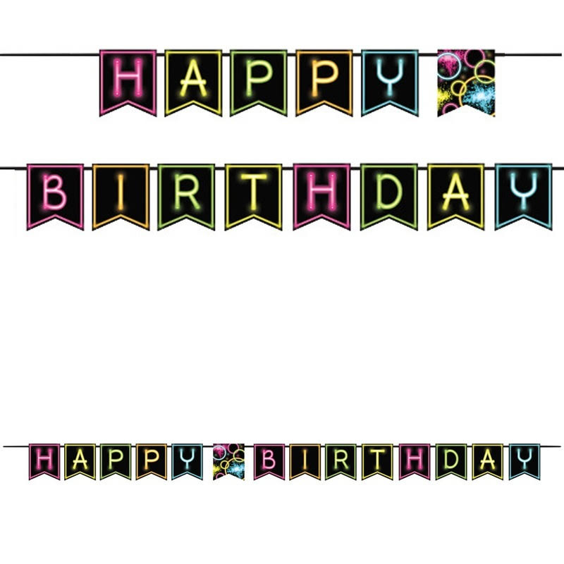 "Creative Converting Birthday Banner - Glow Party, 6""x9'"