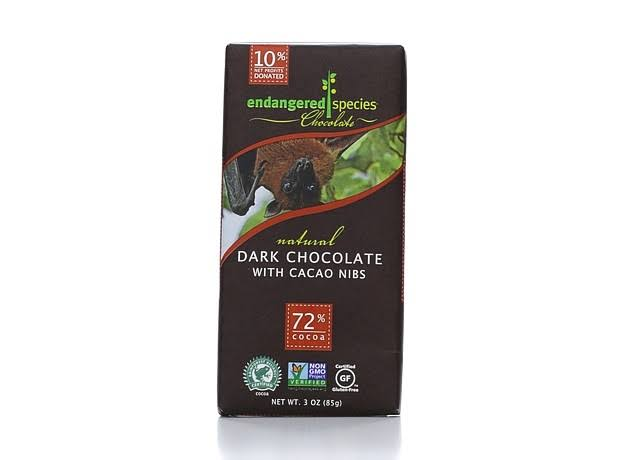 Endangered Species Chocolate Bar - Natural Dark Chocolate, with Cocoa Nibs, 3oz