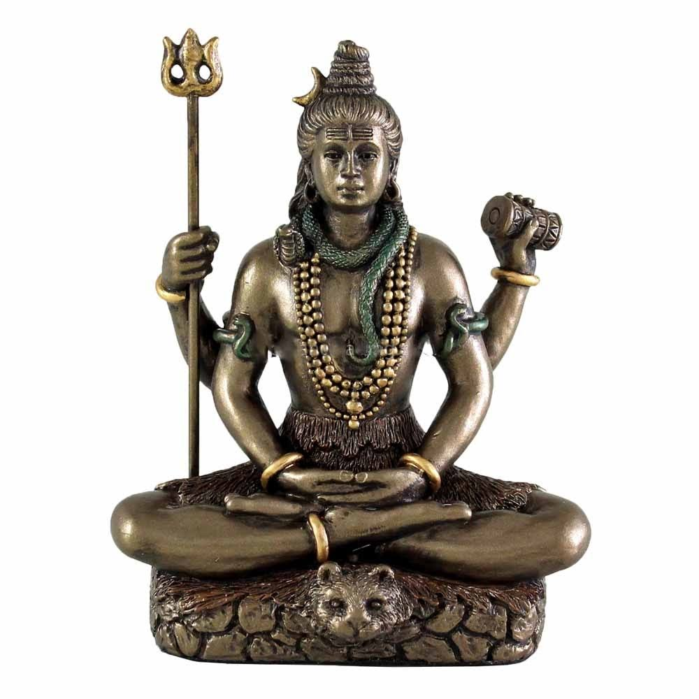 Top Collection Hindu God Lord Shiva in Meditation Bronze Finish Figurine
