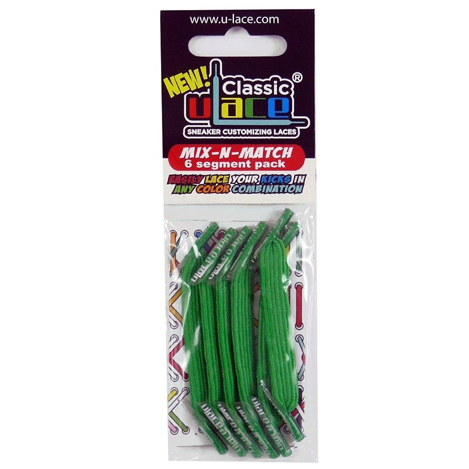 U-Lace Classic No-Tie Customized Sneaker Shoe Laces 50 Colors Mix & Match - Kelly Green, 6 Pieces