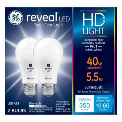 GE Lighting Reveal HD Equivalent A19 LED Light Bulb - 40W, 2pk