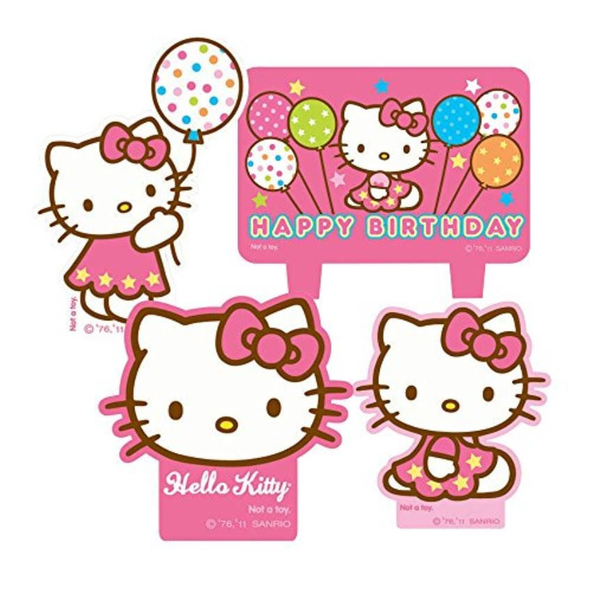 Amscan Hello Kitty Balloon Dreams Mini Moulded Candles - 4ct