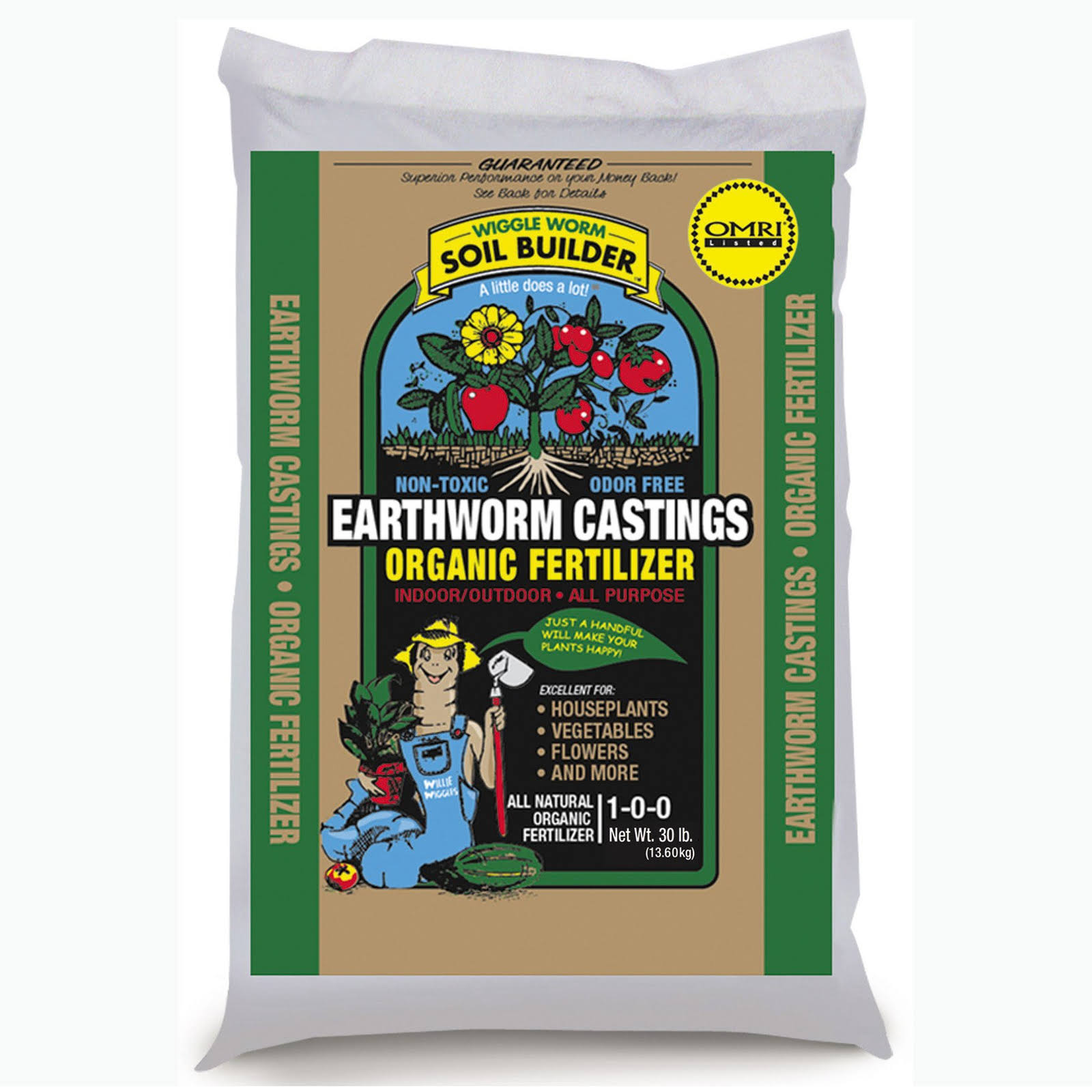 Wiggle Worm Soil Builder Earthworm Castings Organic Fertilizer Omri Bag - 30lbs