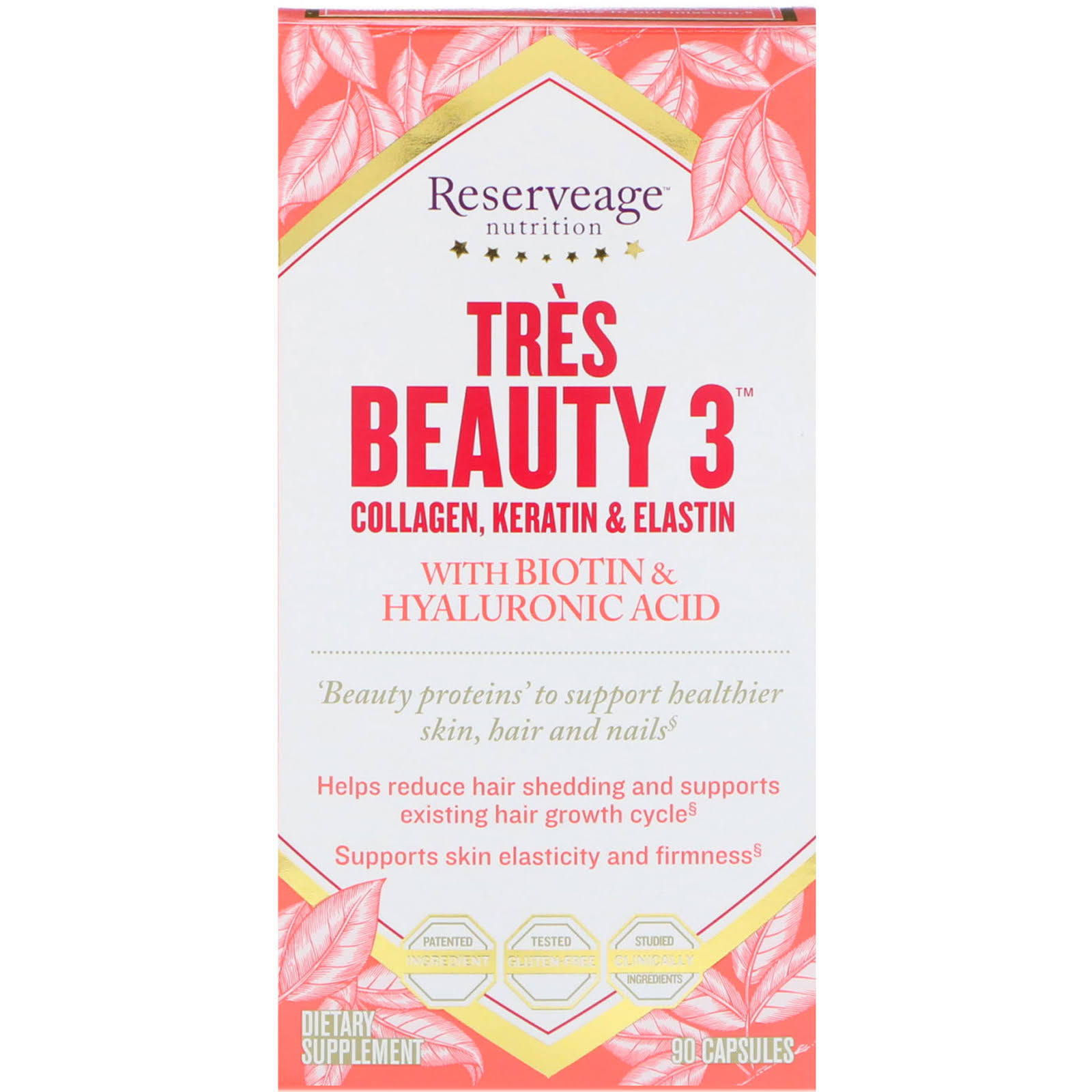 Reserveage Tres Beauty 3 with Biotin and Hyaluronic Acid - Supplement, 90 Capsules