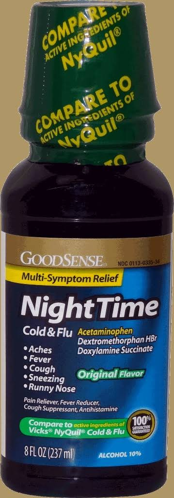 GoodSense Night Time Cold & Flu Original Flavor - Case of 6