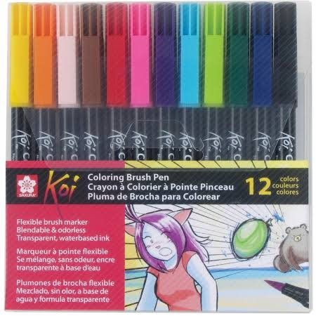 Sakura of America Koi Coloring Brush Set - 12 Colors