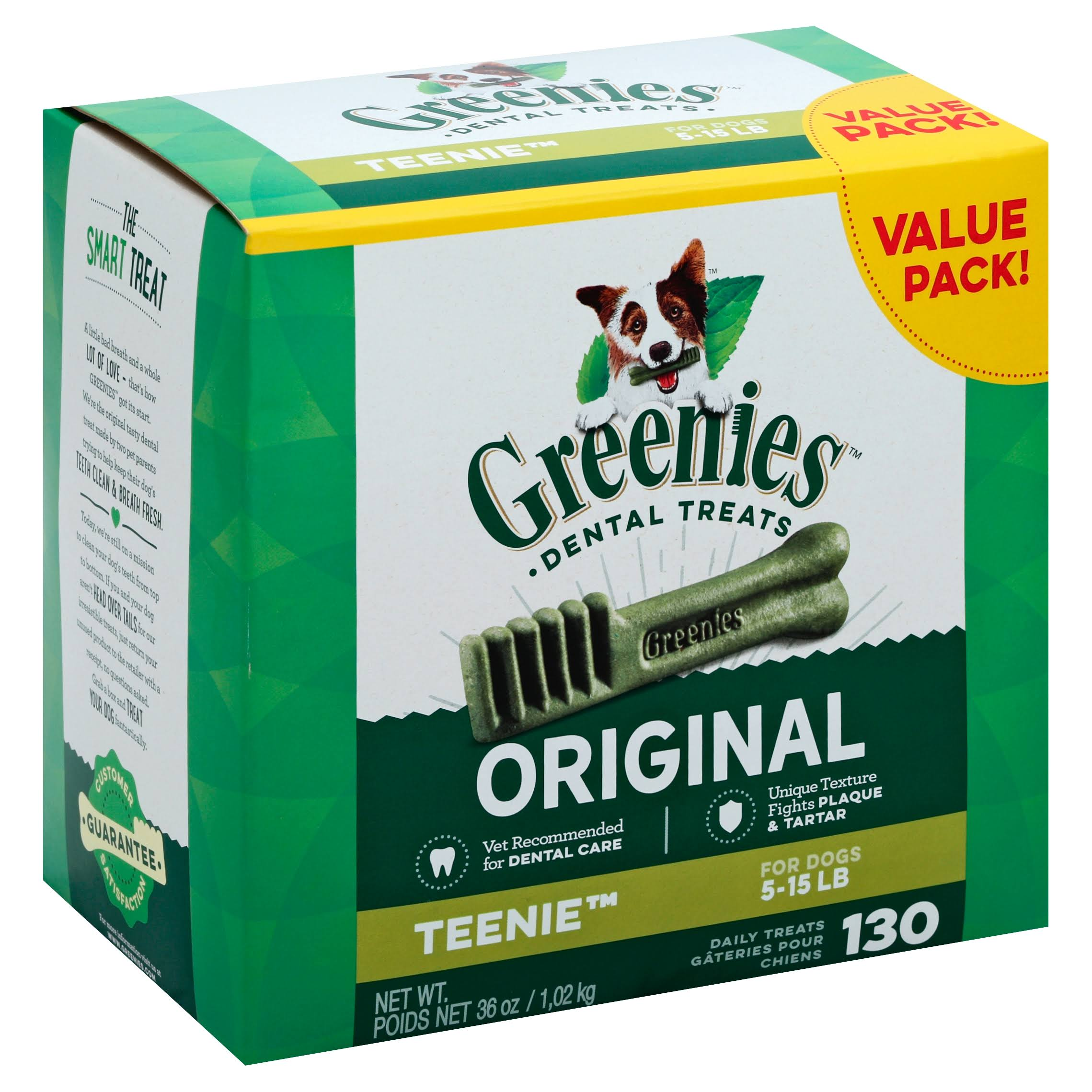 GREENIES Original TEENIE Dog Dental Chews Dog Treats - 36oz, 130 Pack