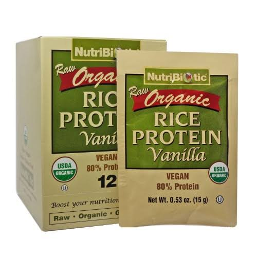 Nutribiotic Organic Rice Protein, Vanilla - 0.53 oz packet
