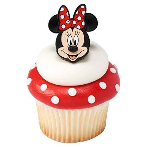 24 Minnie Mouse Cupcake Rings Toppers Party Supplies