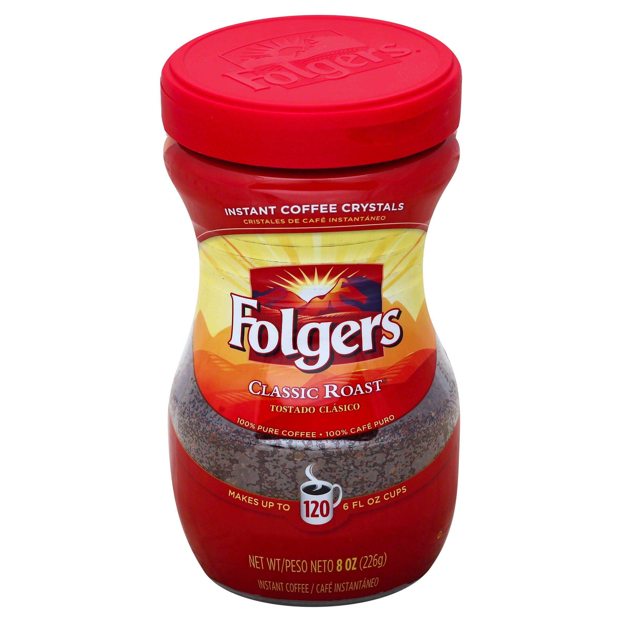 Folgers Classic Roast Crystals Instant Coffee - 8oz