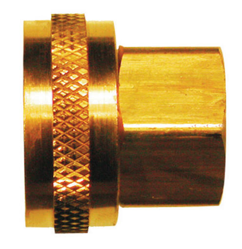 "Jmf Hose Adapter - Yellow Brass, 3/4"" x 1/2"""