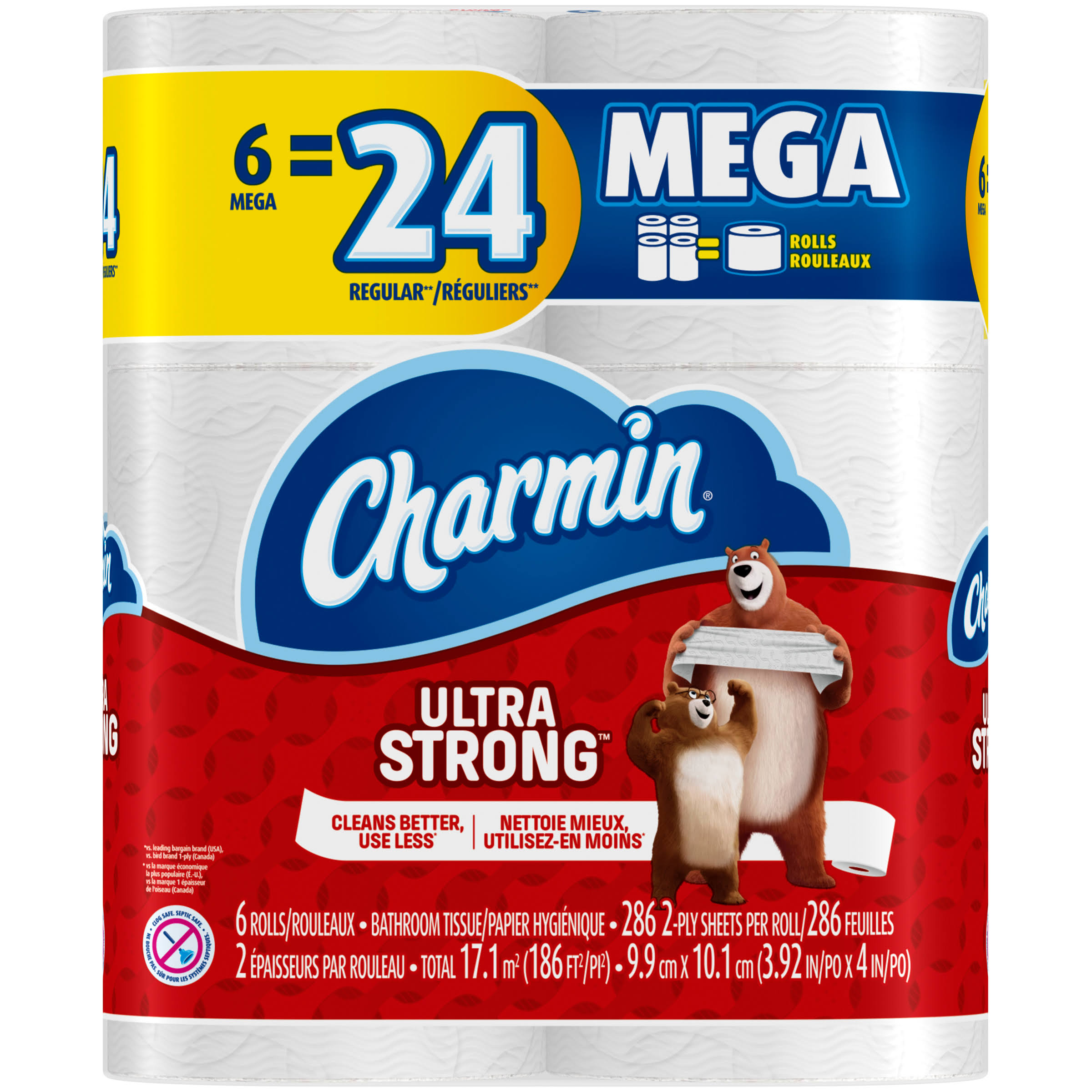 Charmin Bathroom Tissue, Mega Roll, Ultra Strong, 2-Ply - 6 rolls