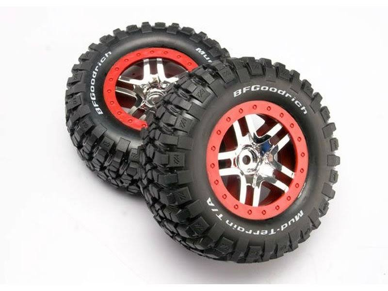 Traxxas TRA6873A Chrome Wheels RC Vehicle Mud Assembled Terrain Tires - Red, 2pcs