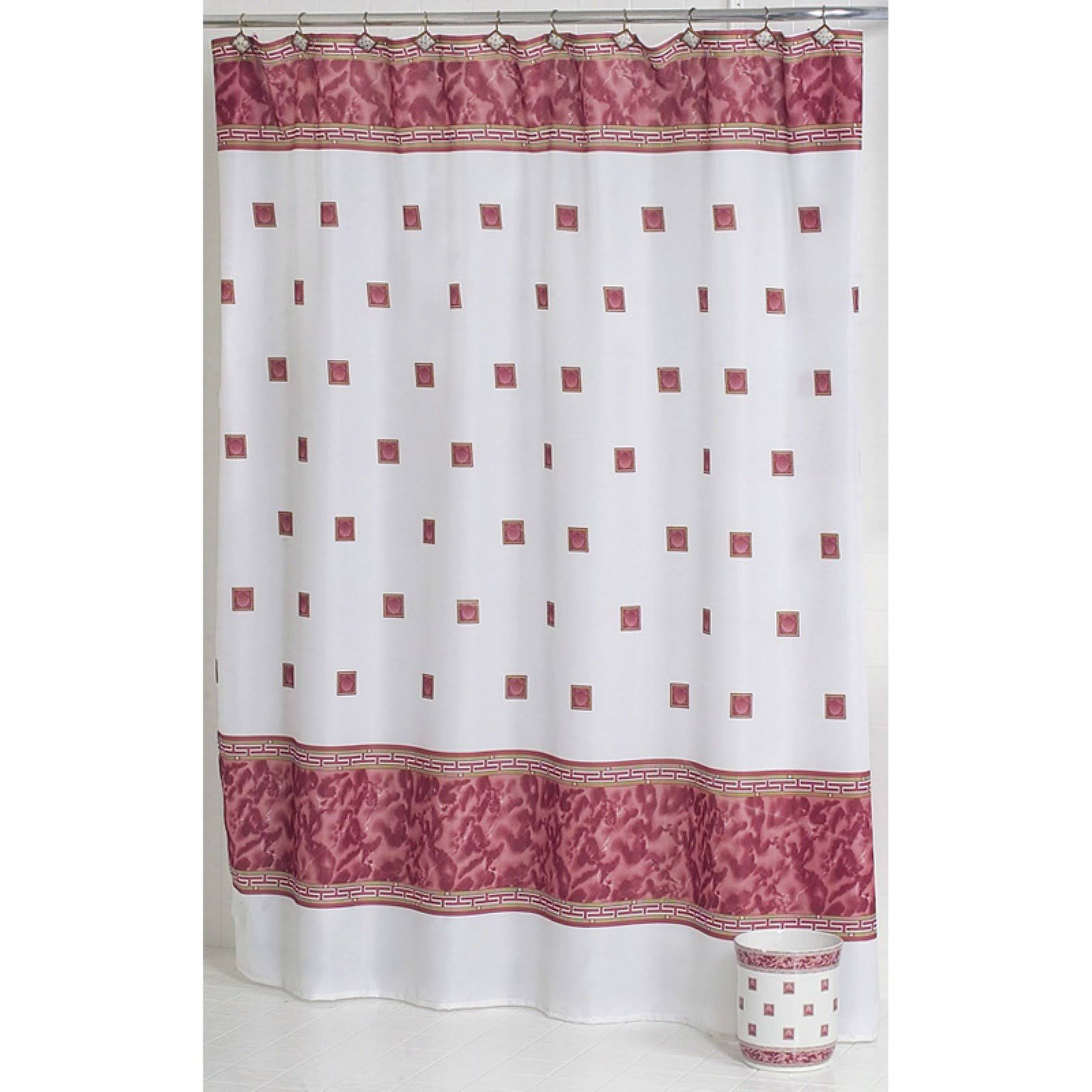 Carnation Home Fashions Windsor Fabric Shower Curtain in Burgundy