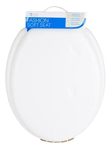 Ginsey Elongated Soft Toilet Seat with Plastic Hinges - Desert White