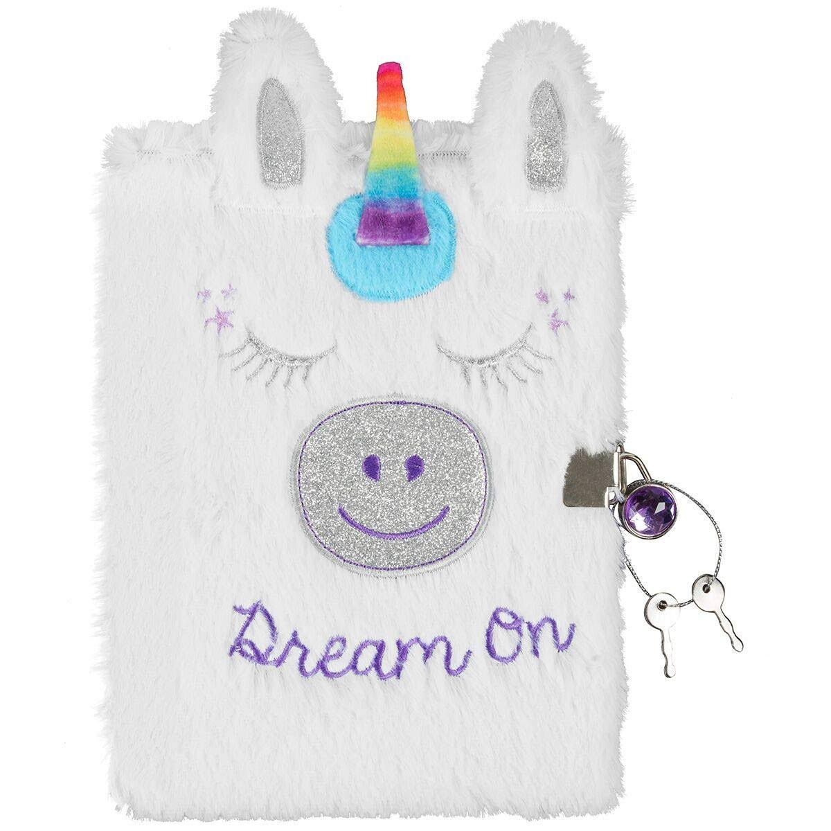 3C4G Unicorn Plush Children's Journal with Sparkling Gem Lock (36059)