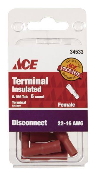 Ace 22-16 AWG Insulated Female Bullet Disconnect Terminals - Red
