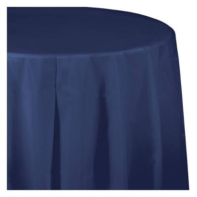 Creative Converting Round Plastic Tablecover, Navy Blue, 82""