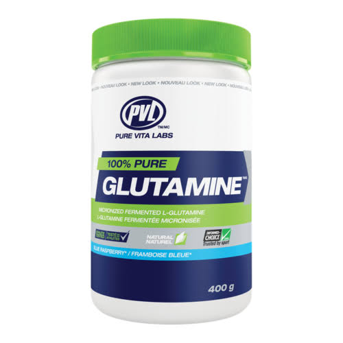 PVL 100% Pure Glutamine Supplement - Blue Raspberry, 410g