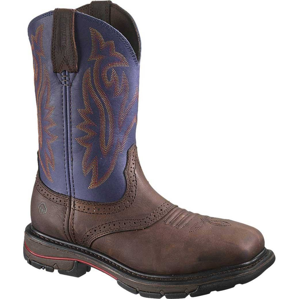 Wolverine Men's Javelina High Plains Western Wellington Steel Toe Work Boot - Blue - 11 M