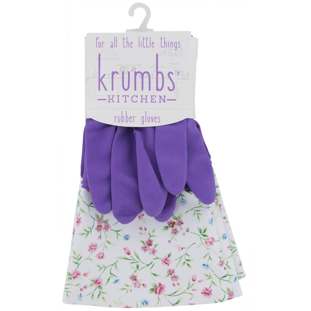 Krumbs Kitchen Cleaning Rubber Gloves (1 Pair) Purple