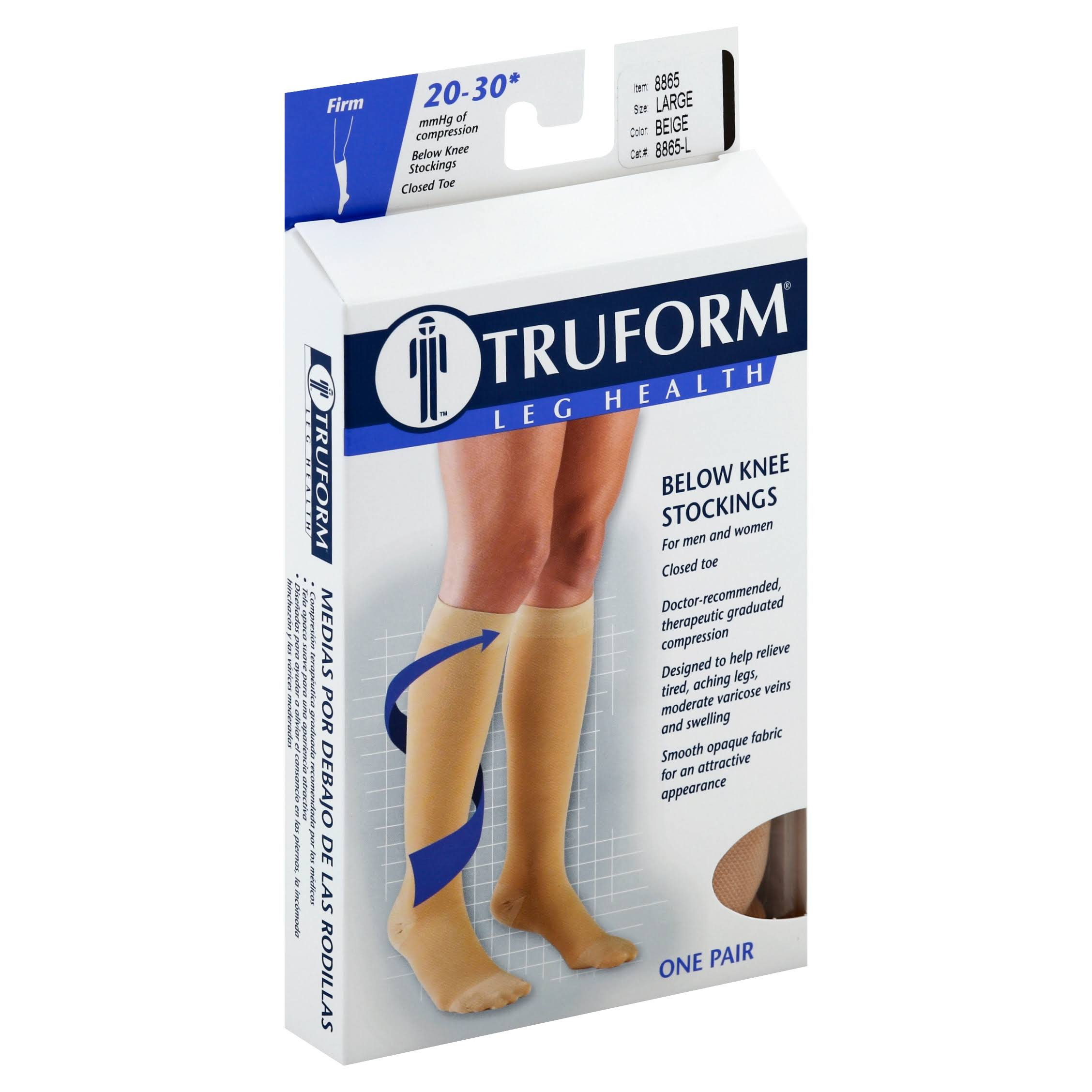 Truform Closed Toe Knee High Compression Stockings - Beige, Large, One Pair