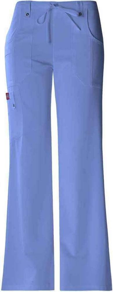 Dickies Drawstring Flare Leg Scrub Bottoms Pants - Blue, Medium