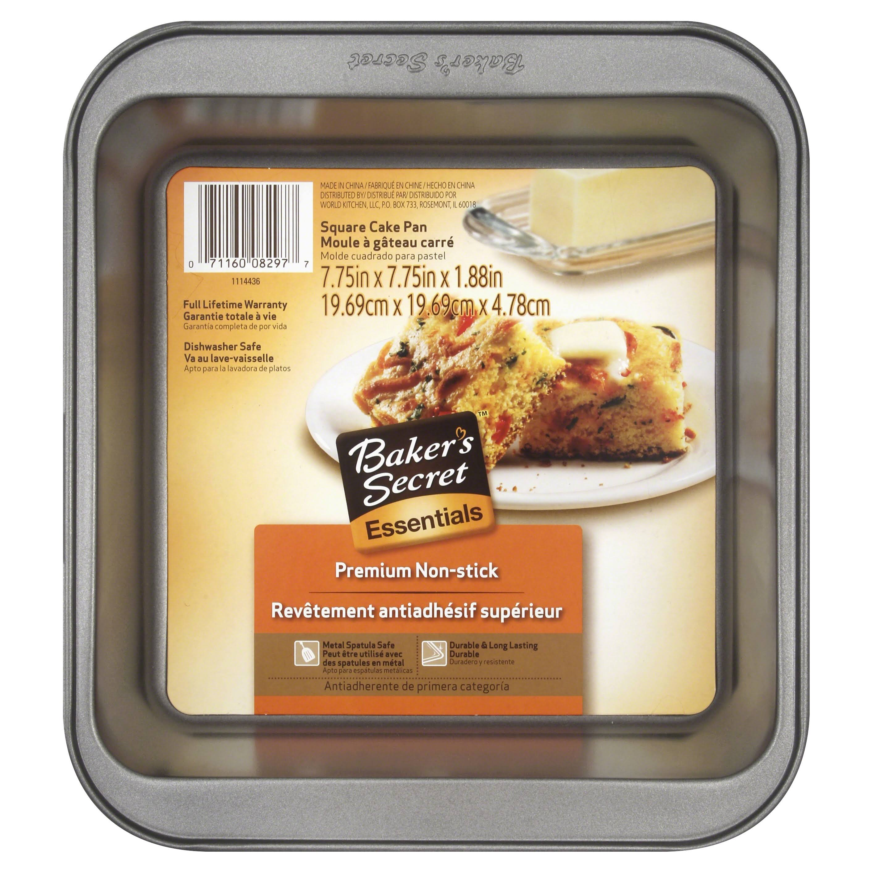 "Baker's Secret Square Cake Pan - 7.75"" X 7.75"" X 1.88"", Gray"