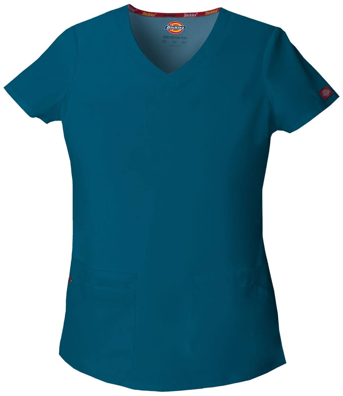 Dickies Women's Signature V Neck Scrub Top - Caribbean Blue, XX-Large